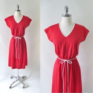 Vintage 70's Red & White Trim Day Dress S